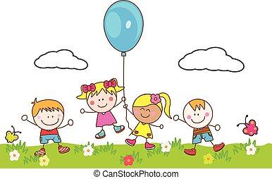 balloon, geitjes, park, spelend, vrolijke
