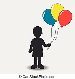 balloons., silhouette, jongen