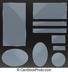 banieren, transparency., transparant, set, plates., vector, achtergrond., publicity., glas