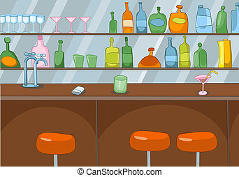 bar, spotprent