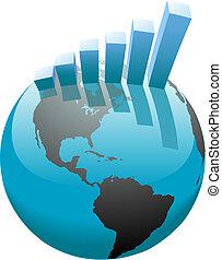 bar, zakelijk, grafiek, globaal, groei, wereld