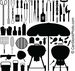 barbecue, silhouette, vector, set, bbq