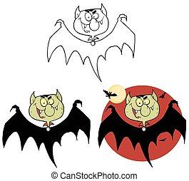 bats., set, vampier, verzameling