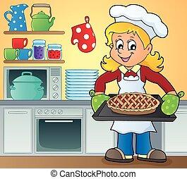 beeld, cook, vrouwlijk, thema, negen