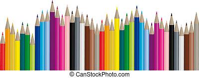 beeld, kleur, potloden, -, vector