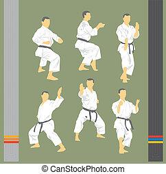 beelden, karate, set
