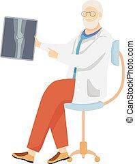 been, spotprent, diagnosis., straal, beoefenaar, mannelijke , ziekte, xray., x, karakter, illustration., witte , het onderzoeken, joint, breuk, algemeen, plat, vrijstaand, traumatologist, arts, senior, vector, orthopedic