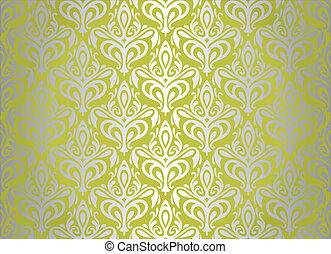 behang, groene, zilver, ouderwetse , &