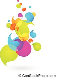 bel, 2, -, kleurrijke, achtergrond