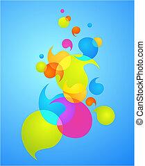 bel, 3, -, kleurrijke, achtergrond