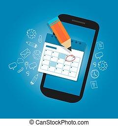 belangrijk, mark, schema, data, apparaat, smart-phone, beweeglijk, herinnering, tijd, kalender, plan, organisator