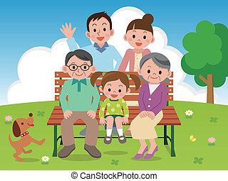 benc, vrolijke , park, gezin, zittende