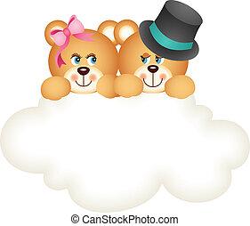 beren, paar, wolk, teddy