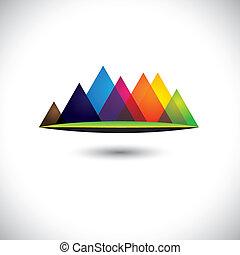 berg, heuvels, kleurrijke, &, abstract, bereiken, grasland, pictogram