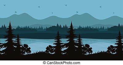 berg landschap, seamless, bomen, meer