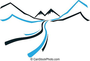 berg, pictogram, vallei, straat, logo