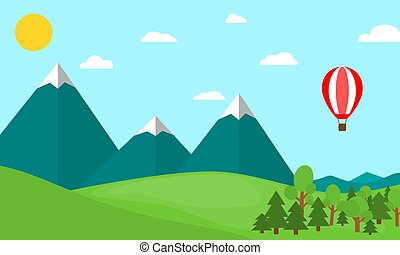 bergen, balloon, warme, landscape, lucht