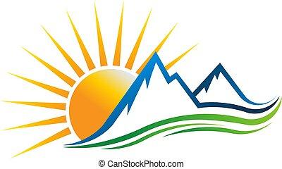 bergen, zon, vector, logo, illustratie