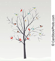 berk, hertje, vogels, boompje, achtergrond, silhouette