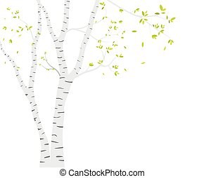 berk, sticker, hertje, vogels, achtergrond, boompje, behang, silhouette