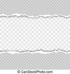 beschadigd, gescheurd, seamless, illustratie, papier, borders., witte , vector, horizontaal, karton, shadow.