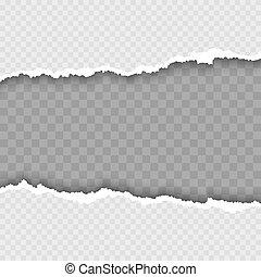 beschadigd, vector, gescheurd, illustratie, borders., papier, witte , karton, shadow.