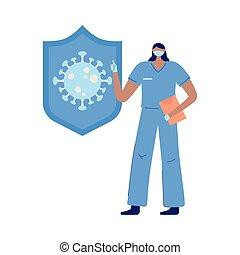 bescherming, artsen, masker, verpleegkundige, rapport, vrouwlijk, verpleegkundigen, medisch, dank
