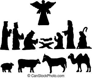 bethlehem., silhouette, ster, geboorte