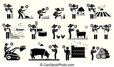 beweeglijk, landbouw, werkmannen , industrie, hun, telefoon., gebruik, technologie, app, smart