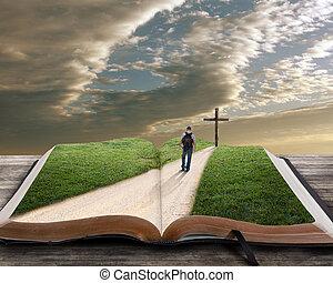 bijbel, open, kruis, man