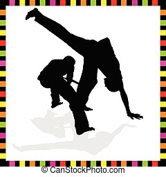 black , capoeira, silhouette, paar