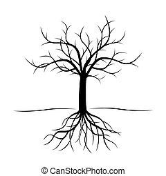 black , vector, boompje, illustration., roots.