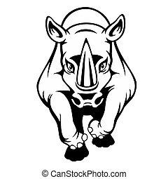 black , vrijstaand, achtergrond, spotprent, neushoorn, witte