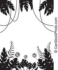 blad, achtergrond, silhouette, tropische