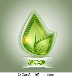 blad, groene achtergrond, pictogram