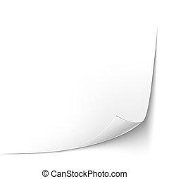 blad, illustratie, papier, vector, corner., gekrulde