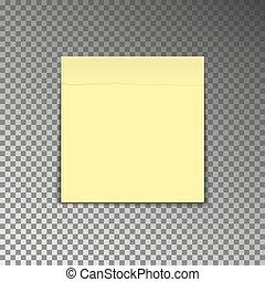 blad, kantoor, sticker, vrijstaand, gele, achtergrond., vect, papier, schaduw, note., post, transparant