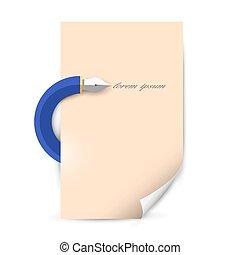 blad, schrijvende , stylized, pen, papier, leeg
