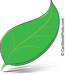 blad, vrijstaand, illustratie, vector, groen wit