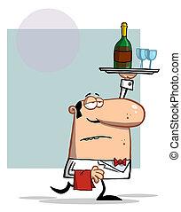 blad, wijn kelner, verdragend
