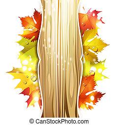 bladeren, achtergrond, hout
