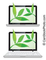 bladeren, draagbare computer, witte achtergrond