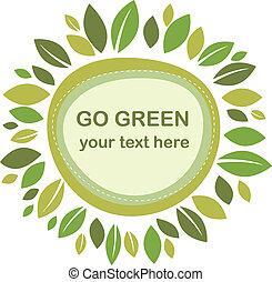 bladeren, groene, frame