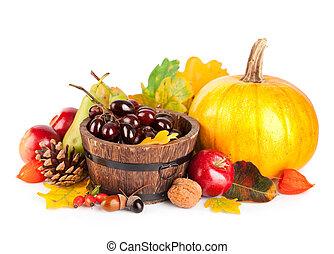 bladeren, herfstachtig, gele, vruchten, oogsten, groentes