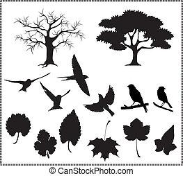 bladeren, silhouette, vogels, vector, boompje