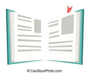 bladwijzer, boek, vector, geopend, illustration.