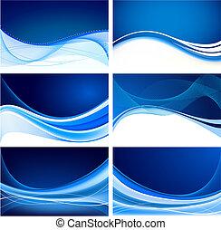 blauwe , abstract, set, achtergrond, vector