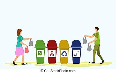 blauwe , bags., restafval, mannen, verlof, verdragend, achtergrond, afval, order, vrouwen