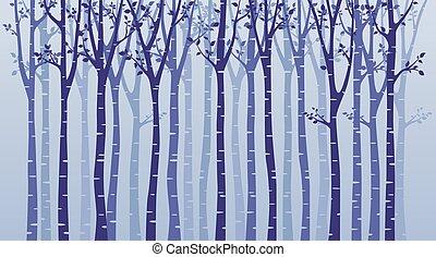 blauwe , boompje, silhouette, achtergrond, berk