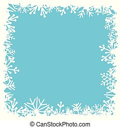 blauwe , frame, plein, snowflakes, achtergrond